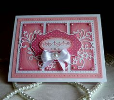 "Stampin up- CottageCutz  - Wedding Handmade ""Happy Together"" card"