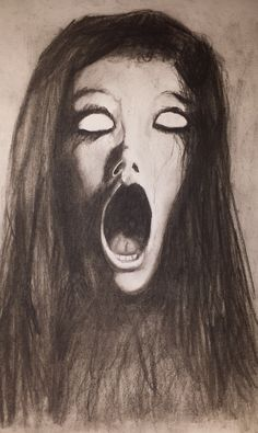 Scream Charcoal Sketch by on Etsy Scary Drawings, Dark Art Drawings, Art Drawings Sketches, Charcoal Sketch, Charcoal Art, Screaming Drawing, Scream Art, Mouth Drawing, Creepy Images