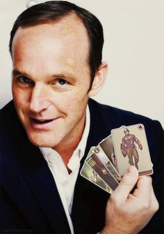 Clark Gregg -Agent Phil Coulson with his Vintage Captain America Trading Cards.