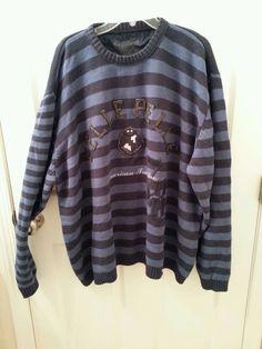 "Pelle Pelle Size 5XL Marc Buchanan Blue Striped Sweater with Crest ""78"" - XXXXXL #PellePelle #Crewneck"