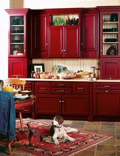 Kitchen Cabinets Remodeling LOVE these red cabinets - definitely for a small section or island at least. - It's time to revive that old kitchen of yours! Here are the Best DIY Ideas for Your Kitchen! Read and see which one fits bets your needs! Red Kitchen Cabinets, Kitchen Cabinet Colors, Kitchen Paint, Kitchen Redo, Kitchen Colors, New Kitchen, Kitchen Dining, Kitchen Small, Kitchen Ideas Red