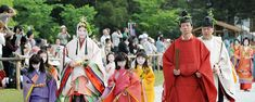 Aoi Festival.  Men and women dressed in heian robes.