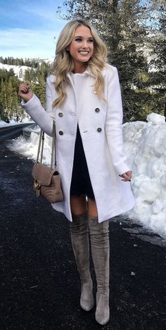 #winter #outfits white double-breasted coat and pair of gray thigh-high boots outfit