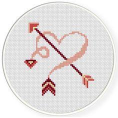 FREE for Jan 21st 2017 Only - Cute Arrow Heart Cross Stitch Pattern