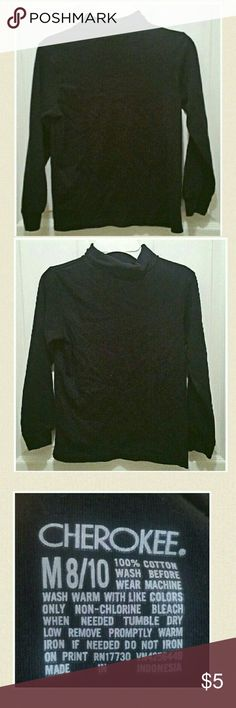 Black turtleneck by Cherokee Ladies black turtleneck size 8/10. GUC. No holes or stains noted. 100% cotton Cherokee Tops Blouses