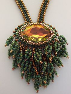 In the Forest Primeval Beadwoven Necklace. $140.00, via Etsy.