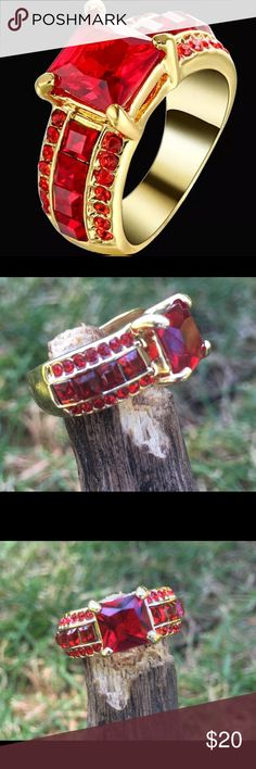Ruby ring 14k gold filled ring.                                                        Ruby.    Size 7 Jewelry Rings