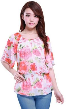 Flower Prints Smocked Waist Ruffled Sleeve Lined Chiffon Blouse in white #SpringFashion