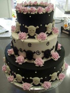 Skull wedding cake. Black, white , teal. This would be pretty with lace enstead of skulls