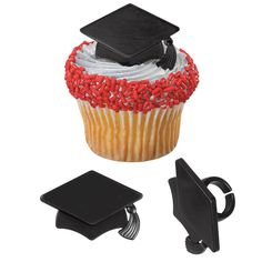 Black Grad Cap Cupcake / Desert / Food Decoration Topper Rings with Favor Stickers & Sparkle Flakes - Graduation Cupcakes, Graduation Party Supplies, Graduation Cap Decoration, Graduation Celebration, Graduation Ideas, Graduation Parties, Graduation Invitations, College Graduation, Cap Decorations