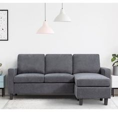 """Winston Porter Nibbi 124"""" Linen Right Hand Facing Modular Large Sectional with Ottoman 