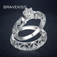 d62057e59 BRAVEKISS vintage crystal bridal ring set for women filigree wedding band  carved ring sets double rings bijoux 2017 BUR0130