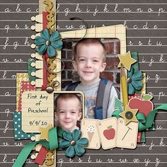 My Ian bud on his way to his first day of preschool Learning Curve by Litabells Designs Flash Card Alpha by Litabells Designs Font: DJB Claire Print School Scrapbook Layouts, Baby Scrapbook Pages, Scrapbook Layout Sketches, Kids Scrapbook, Scrapbook Paper Crafts, Scrapbooking Layouts, Scrapbook Cards, Preschool Layout, Preschool Learning