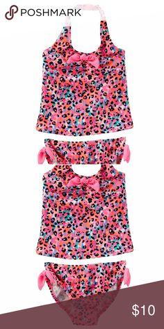 OSHKOSH LEOPARD PRINT TANKINI UPF 50+ sun protection Fully lined Allover leopard print Tacked bow Osh Kosh Swim Bikinis