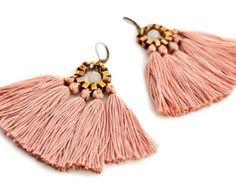 Tassel Earrings, Old Rose Fringe Earrings, Hippie Earrings, Bohemian Chandeliers, Pink Earrings, Folk Earrings