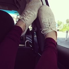Maroon pants and lace sneakers