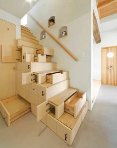 These stairs are cool as hell and are functional for storage. Home.