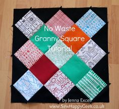 no waste granny square quilt block tutorial