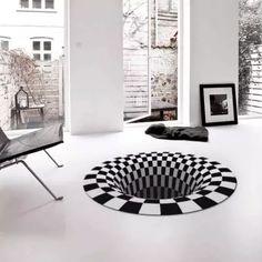 US$ 46.98 - Vortex Illusion Rug - m.57diy.com Floor Murals, Tapis Design, Tile Design, Deco Originale, Stylish Kitchen, New Carpet, Kitchen Rug, Kitchen Black, Kitchen Sink