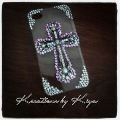 iPhone 4 cross bling phone case, pink and silver
