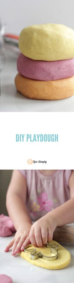 Homemade playdough that's safe for little hands and made without any artificial dyes! My kids love to make this fun DIY and it lasts for months in the playroom.