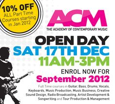 Interested in studying music, but want to know more...come along to ACM's Open Day on 17th December between 11-3pm  More info here - http://www.acm.ac.uk/open-day/