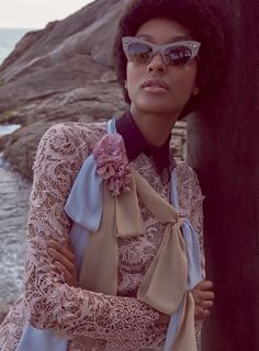 Jourdan Dunn wears an afro and retro style shades for Vogue Brazil