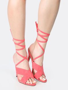 Backless Lace Up Faux Suede Heels CORAL   MakeMeChic.COM