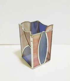 Pencil  Holder - Candle Holder - Stained Glass - Desk Accessory - Abstract Geometric Art - Office Decor - Glass Art - Pink and Purple Glass by StainedGlassYourWay on Etsy
