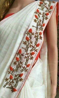Saree Embroidery Design, Hand Embroidery Dress, Cutwork Saree, Tussar Silk Saree, Bridal Blouse Designs, Saree Blouse Designs, Hand Painted Sarees, Sari Design, Saree Models
