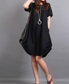 Summer dress/ cotton pleated Short sleeve dress with decorative buttons/ simple black lantern dress