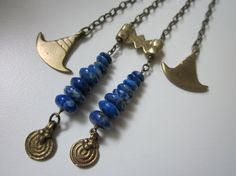 Bastet - ancient Egyptian extra long antiqued brass, vintage cobalt blue lapis lazuli gemstones, and tribal solid brass charms necklace by LoveRoot, $58.00