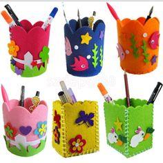 Colored Creative Handcrafts Felt Pencil Holder Felt Craft Toys Diy For Kids #ebay #Home & Garden