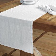 Echelon Home Washed Belgian Linen Table Runner (Eggshell White)