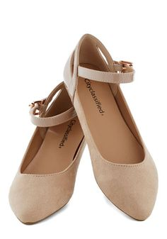 Ready to Impress Flat in Oatmeal - Tan, Solid, Cutout, Flat, Good, Faux Leather, Work, Daytime Party, Mary Jane, Variation, Basic
