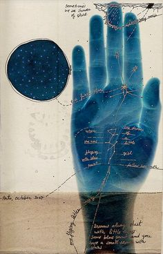 Mixed media, print and gold embellishments, tarot, palmistry? Symbol Hand, Lynda Barry, Arte Sketchbook, Photocollage, Cyanotype, Palmistry, Psychedelic Art, Mail Art, Art Plastique