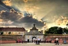 ~ Beautiful sunset over the fortress ~ HDR tone-mapped image Location: Alba Iulia's fortress — at Cetatea Alba Iulia. Visit Romania, Concept Photography, Beautiful Sunset, Places To See, Taj Mahal, Clouds, Landscape, Country, Pictures