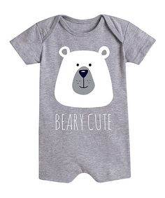 Take a look at this Athletic Heather 'Beary Cute' Romper - Infant today! Hip Baby Clothes, Baby Gender, Baby Baby, Baby Boy T Shirt, Baby Information, Kids Graphics, Baby Posters, Cute Rompers, Stylish Baby