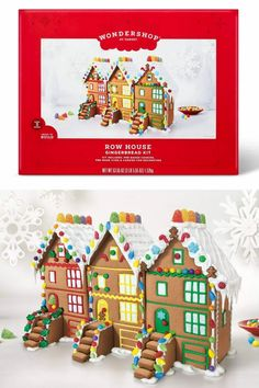 Wondershop Gingerbread Row House Kit - For a seasonal activity that can be enjoyed by both the young and the young at heart, the Row House Gingerbread Kit makes a great pick. Each gingerbread kit comes with everything you need to create a festive gingerbread creation you'll love displaying — or munching on! — throughout the holiday season. #rowhouse #gingerbread #gingerbreadhouse Best Gingerbread House Kit, Gingerbread Cookie Mix, Cardboard Gingerbread House, Cool Gingerbread Houses, Classic Holiday Movies, Pop Up Play, Types Of Candy, Cookie House, Rudolph The Red