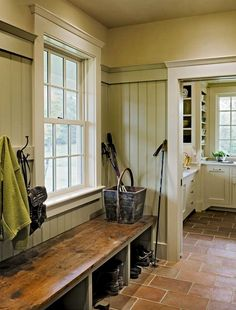 Window trim...colorful mudrooms - New Hampshire Farmhouse mudroom in an acid green close to Benjamin Moore's Central Park 431- Smith & Vansant via Atticmag