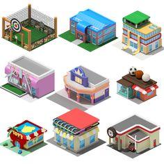 Social Game by aka Louis de Ramilez, via Behance Isometric Map, Isometric Design, Game Concept, Concept Art, Cartoon Building, Cube World, Cartoon House, 2d Game Art, House Games