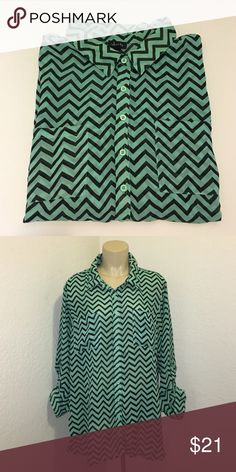 Mint Teal Chevron Print Long Sleeve Chiffon Blouse Beautiful chiffon blouse with a stunning chevron print. In excellent condition. Size 18. Brand: Justify Justify Tops Blouses