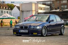 Montreal blue BMW e36 compact on OEM BMW Styling 32 wheels