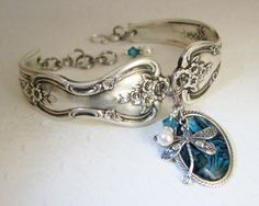 Dragonfly Spoon Bracelet, Magnolia Blue Paui Shell, White Pearls,just letting you know Silver Spoon Jewelry, Fork Jewelry, Dragonfly Jewelry, Silverware Jewelry, Metal Jewelry, Jewelry Art, Antique Jewelry, Beaded Jewelry, Vintage Jewelry