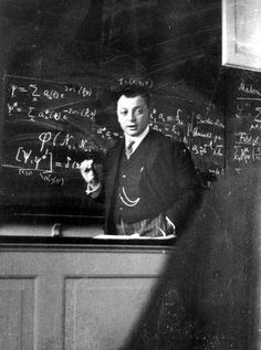 Wolfgang Pauli during a lecture in Copenhagen, April 1929