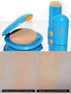 Testando base/protetor e pó da Shiseido. Resenha no blog da versão em pó e da versão em bastão.