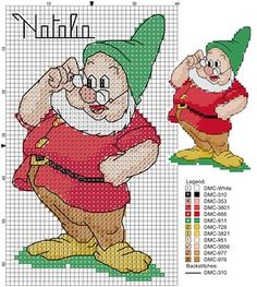 7 Dwarves cross stitch pattern, but could possibly use these templates for crocheting. ;)