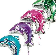 7e231585bbd2 Dolphin-Shaped Mylar Balloons Assortment