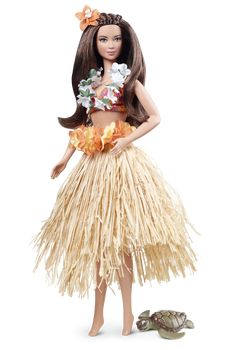 "Dolls of the World (2012) Hawaii Barbie wearing a floral lei, colorful bikini, and traditional raffia ""grass"" hula skirt. Includes sea turtle friend."