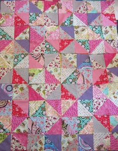 Nina's second quilt - a riot of half-square triangle colour. It's beautiful and the finished quilt is a real heirloom. Beginner Quilt Patterns, Quilting For Beginners, Scrappy Quilts, Easy Quilts, Antique Quilts, Vintage Quilts, Half Square Triangle Quilts, Contemporary Quilts, Quilting Projects